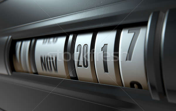 одометр 3d визуализации механический даты лет будущем Сток-фото © albund