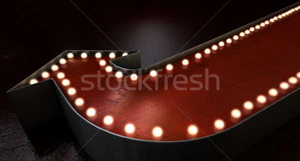 Bağbozumu kırmızı ok işareti çağ ışık yalıtılmış Stok fotoğraf © albund