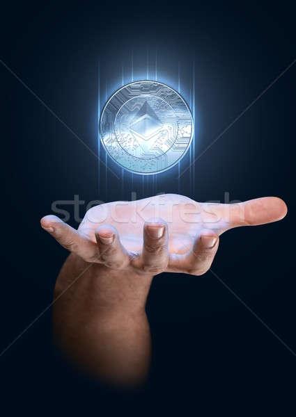 手 ホログラム 男性 アップ 青 ストックフォト © albund