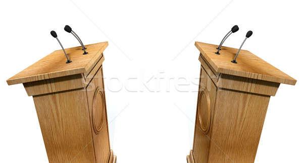 Vita kettő rendszeres fából készült izolált fehér Stock fotó © albund