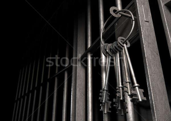 Börtöncella nyitott ajtó köteg kulcsok közelkép zár Stock fotó © albund