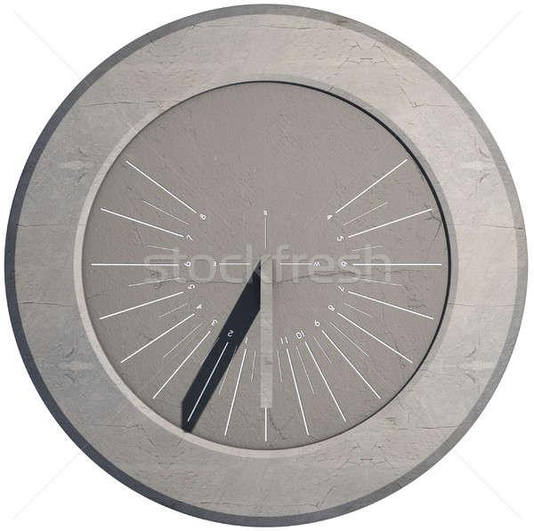 Nowoczesne zegar słoneczny 3d zegar kamień biały Zdjęcia stock © albund