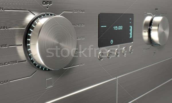 Сток-фото: современных · стиральная · машина · 3d · визуализации · нержавеющая · сталь