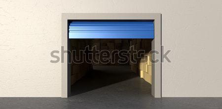 Tároló nyitva dobozok elöl kilátás kék Stock fotó © albund