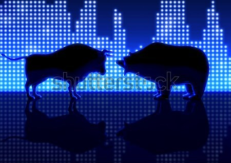 Bear And Bull Silhouette Graphs Stock photo © albund