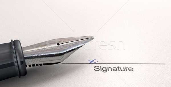 Imza beyaz kâğıt siyah hat Stok fotoğraf © albund