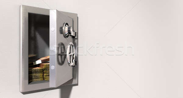 Open Safe On Wall With South African Rands Stock photo © albund