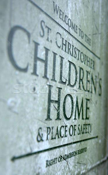 знак 3d визуализации детей каменные Сток-фото © albund
