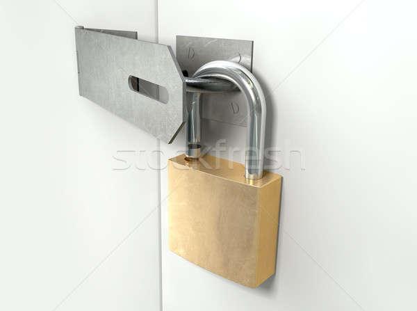 Padlock And Hasp Unlocked Perspective Stock photo © albund