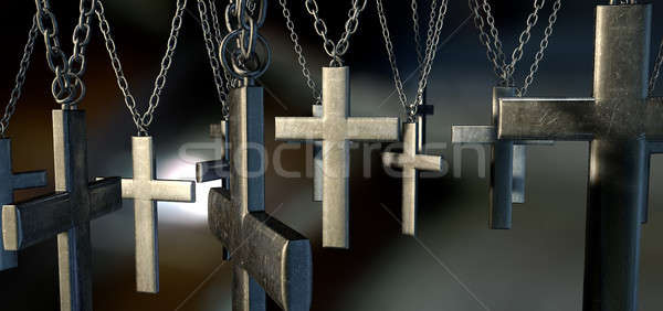 Hanging Crucifixes Close Stock photo © albund