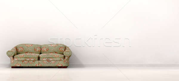 Velho sofá vazio branco quarto Foto stock © albund