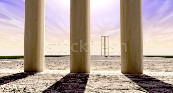 Cricket Wickets On Pitch Horizon Both Straight Stock photo © albund