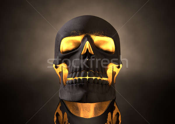Evil Glowing Skull Front Stock photo © albund