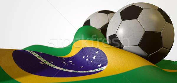 Brazil Flag And Soccer Ball Stock photo © albund