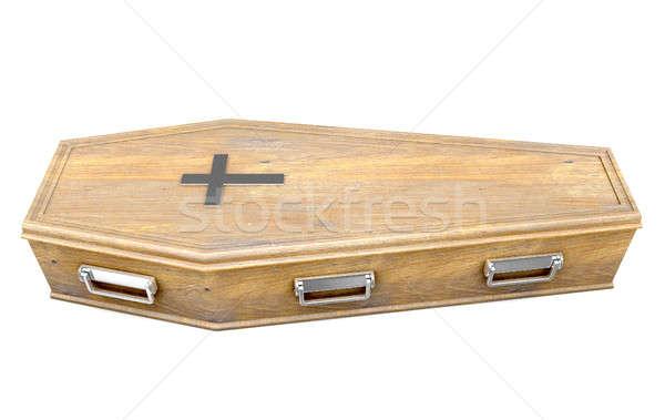 Kist kruisbeeld houten metaal geïsoleerd witte Stockfoto © albund