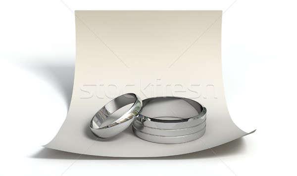 Guardar fecha anillos nota matrimonio compromiso Foto stock © albund