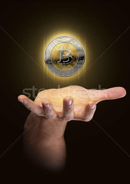 Kéz hologram férfi felfelé lebeg bitcoin Stock fotó © albund