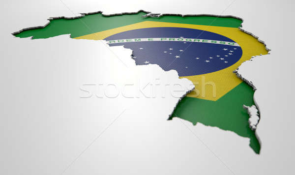 Recessed Country Map Brazil Stock photo © albund