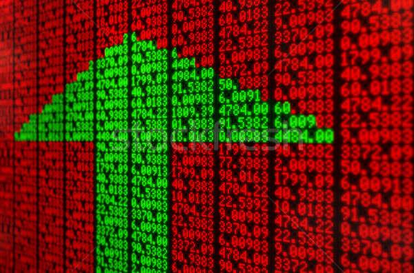 株式市場 デジタル ボード セクション インジケータ 緑 ストックフォト © albund