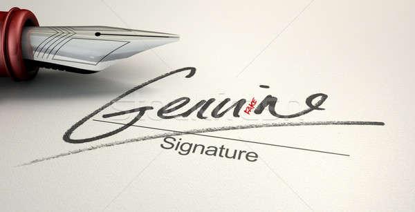 Eredeti hamisítvány aláírás megtévesztő mutat toll Stock fotó © albund