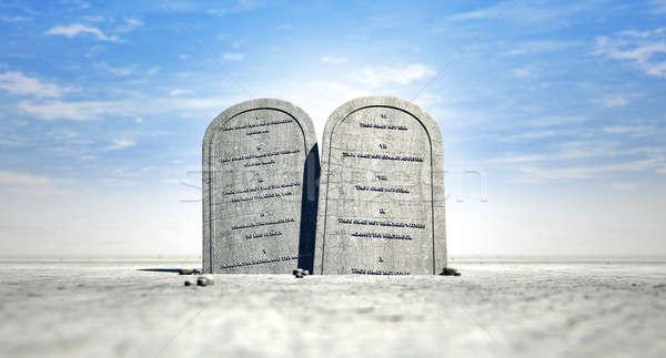 Stock photo: Ten Commandments Standing In The Desert