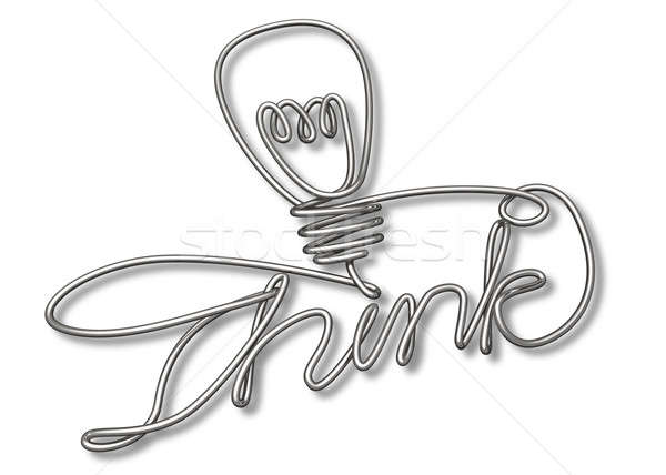 Think Bent and Shaped  Wire Lightbulb Stock photo © albund