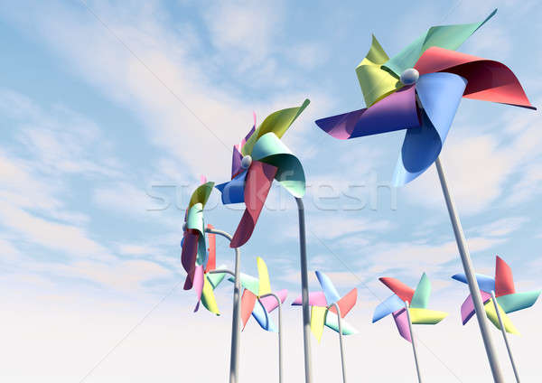 Colorful Pinwheels On Blue Sky Perspective Stock photo © albund