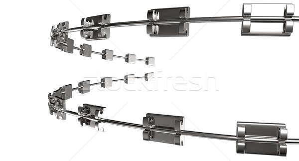 Assembled Dental Braces Extreme Close Perspective Stock photo © albund
