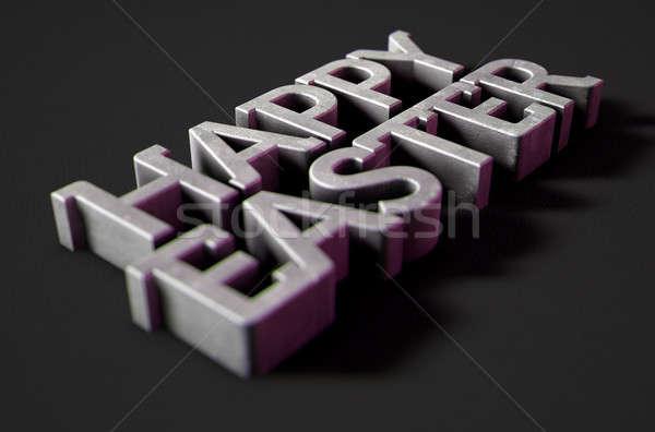 happy easter Text On Black Stock photo © albund