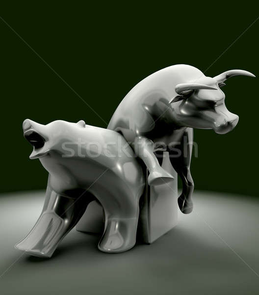 Bull And Bear Economic Trend Statue Stock photo © albund
