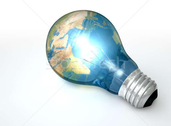 ストックフォト: 電球 · 世界 · 世界中 · ガラス · 世界地図