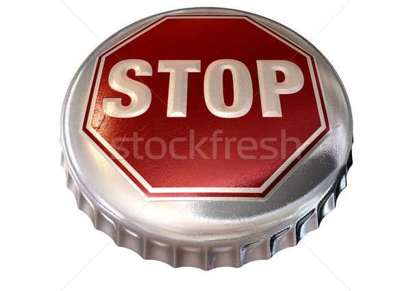 Dur işareti kapak düzenli şişe kırmızı Stok fotoğraf © albund