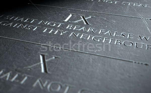 3d визуализации десять каменные таблетка христианской Сток-фото © albund