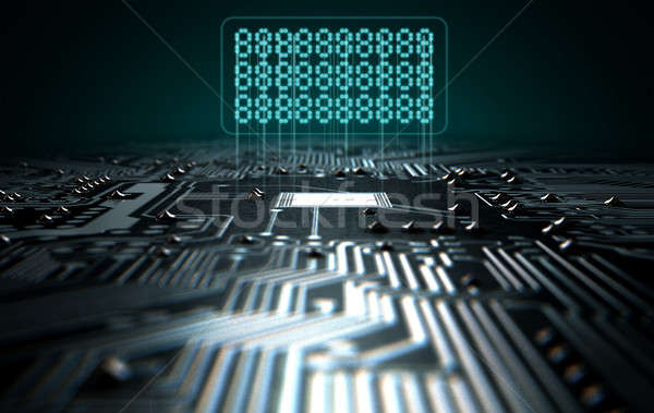 Stockfoto: Circuit · board · tekst · 3d · render · macro · Blauw