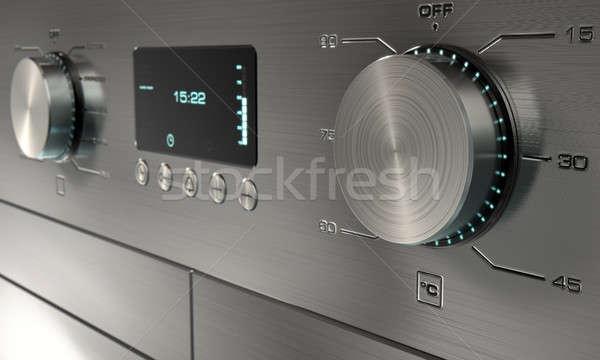 Foto stock: Moderno · máquina · de · lavar · roupa · 3d · render · aço · inoxidável