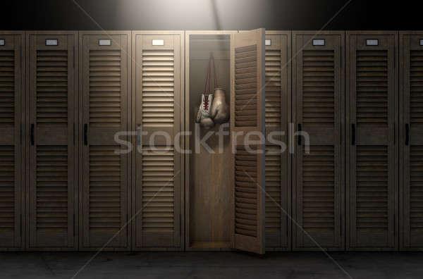 Boxkesztyűk klasszikus öltözőszekrény csetepaté fából készült tornaterem Stock fotó © albund