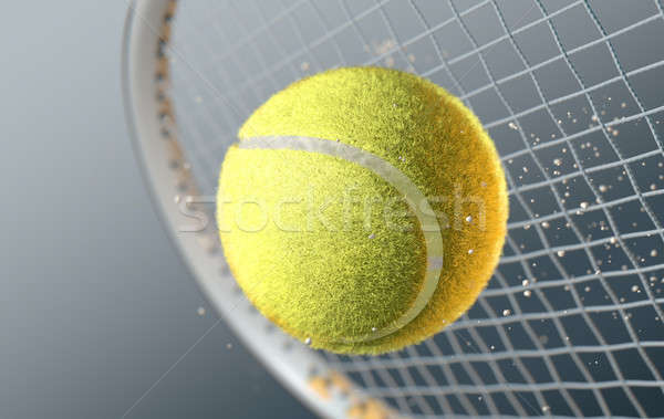 Tennis Ball Striking Racqet In Slow Motion Stock photo © albund