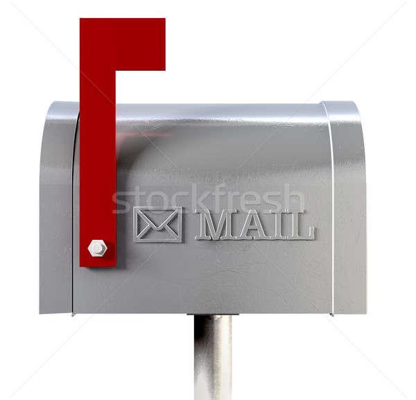 Oude school retro metaal mailbox zijaanzicht Stockfoto © albund