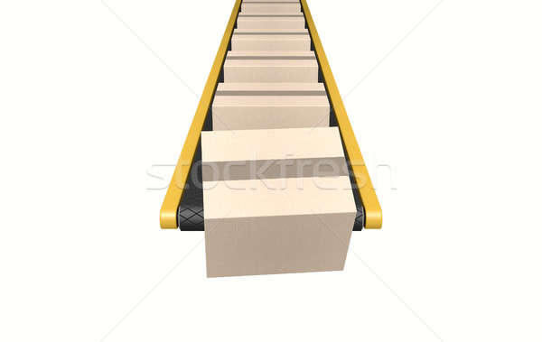 Stock photo: Belt Conveyor With Boxes