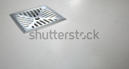 Chrom prysznic piętrze drenażu zestaw Zdjęcia stock © albund