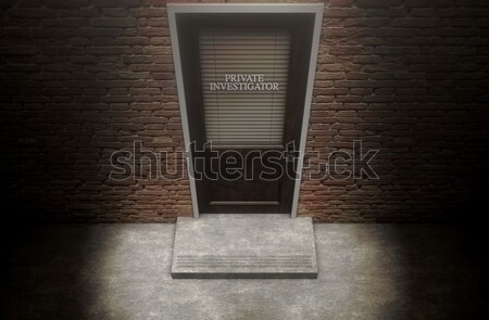 Private Eye Door Outside Rain Stock photo © albund