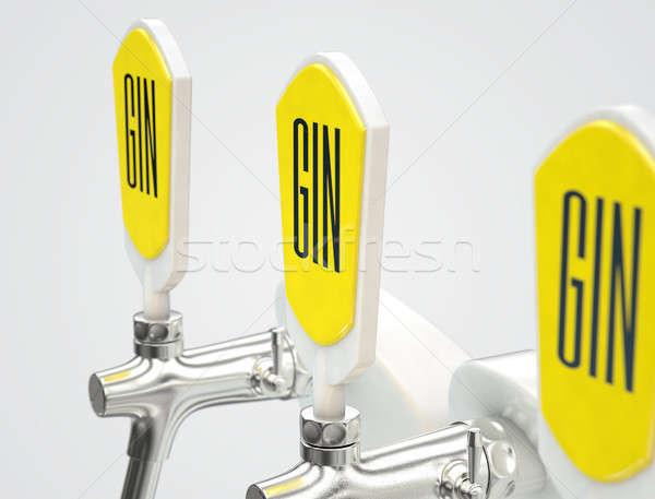 Gin rij drie moderne witte chroom Stockfoto © albund