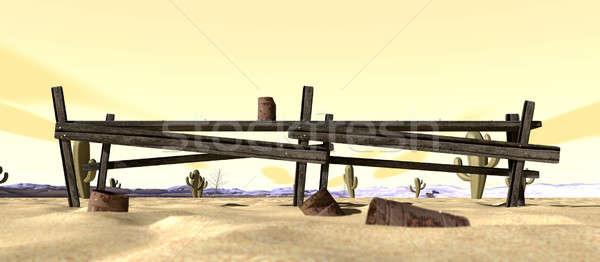 Cartoon Desert With Broken Down Fence Stock photo © albund
