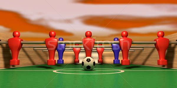 Foosball Table One Team On A Red Sky Stock photo © albund