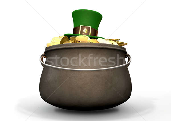 Pot Of Gold With Leprechaun Hat Stock photo © albund