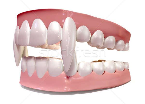 Vampiro falso dentes conjunto isolado dentista Foto stock © albund
