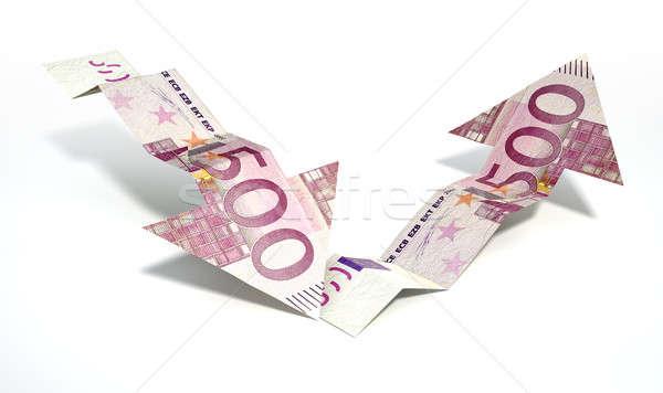 Euros banco nota tendencia flechas Foto stock © albund