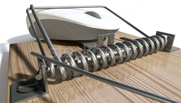 Uwięzione mysz komputerowa drewna metal biały Zdjęcia stock © albund