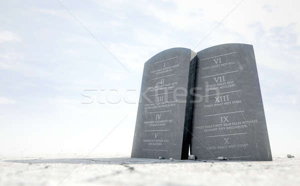 Stock photo: 10 Commandments In Desert
