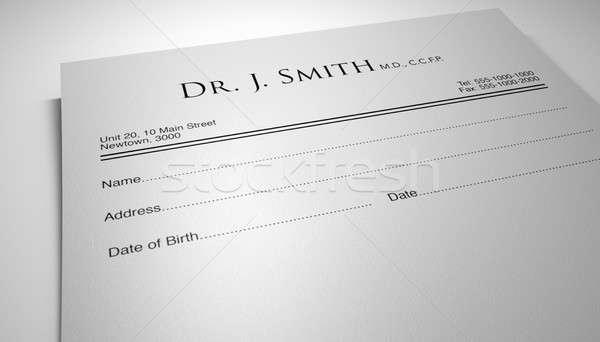 Medici prescrizione nota isolato bianco Foto d'archivio © albund